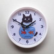 【猫柄】カツミアート(松下カツミ)掛け時計:金魚鉢