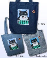 【猫柄】カツミアート(松下カツミ)トートバッグ(中):NO CATS NO LIFE