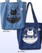 【猫柄】カツミアート(松下カツミ)デニムトートバッグ(大):ピアノ