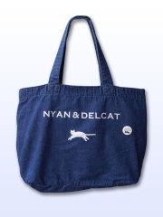 【猫柄】カツミアート(松下カツミ)デニムトートバッグ(特大):NYAN & DELCAT