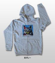 【猫柄】カツミアート(松下カツミ)メンズパーカー:アンディ(フロントジッパーつき)