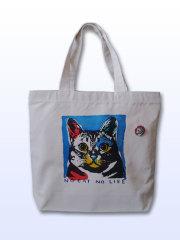 【猫柄】カツミアート(松下カツミ)トートバッグ-C:アンディ(ナチュラル)