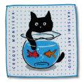 猫柄タオルハンカチ:金魚鉢