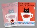 【猫柄】カツミアート(松下カツミ)クリアファイルA5(小)サイズ:コーヒーカップ