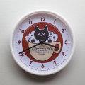 【猫柄】カツミアート(松下カツミ)掛け時計:キャトチーノ