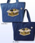 【猫柄】カツミアート(松下カツミ)デニムトートバッグ(特大):ダンボールキャット