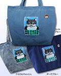 【猫柄】カツミアート(松下カツミ)デニムトートバッグ(大):NO CATS NO LIFE