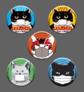 【猫柄】カツミアート(松下カツミ)缶バッチ:マスクキャット(5個入り)