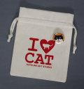 【猫柄】カツミアート(松下カツミ)猫柄きんちゃく袋:I LOVE CAT