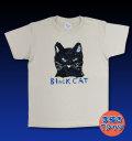 【猫柄】カツミアート(松下カツミ)T-シャツ:ブラックキャット(ナチュラル)