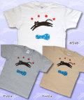 【猫柄】カツミアート(松下カツミ)T-シャツ:ジャンピングキャット(カントリー)