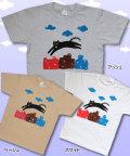 【猫柄】カツミアート(松下カツミ)T-シャツ:ジャンピングキャット(タウン)