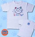 【猫柄】カツミアート(松下カツミ)T-シャツ:スマイルキャット(ホワイト)