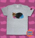 【猫柄】カツミアート(松下カツミ)T-シャツ:座り猫(モクグレー)