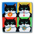 猫柄タオルハンカチ:ニッキーのおやつ