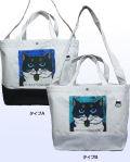【猫柄】カツミアート(松下カツミ)トートバッグ(2WAY): ニッキー