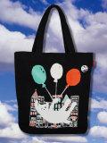 【猫柄】カツミアート(松下カツミ)トートバッグ-C:猫風船(ブラック)