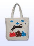 【猫柄】カツミアート(松下カツミ)トートバッグ-C:ジャンピングキャット(カントリー)