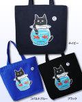【猫柄】カツミアート(松下カツミ)トートバッグ-C:金魚鉢