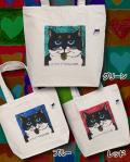 【猫柄】カツミアート(松下カツミ)トートバッグ(大):ニッキー