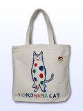 【猫柄】カツミアート(松下カツミ)トートバッグ-C:YOKOHAMA CAT CLUB(ナチュラル)
