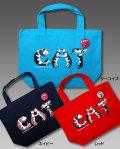 【猫柄】カツミアート(松下カツミ)トートバッグ-D:猫文字CAT