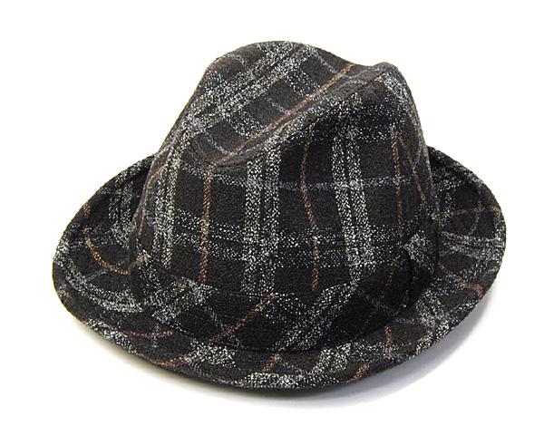 """イタリア製""""Borsalino(ボルサリーノ)""""チェック中折れ帽[大きいサイズの帽子アリ] 【コンビニ受取対応】 (kaw-bort-b22056g)"""
