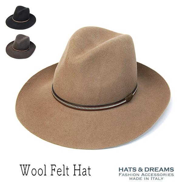 HATS&DREAMSつば広ウールフエルト中折れ帽