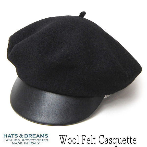 """イタリア""""HATS&DREAMS(ハッツアンドドリームス)"""" ウールフエルトキャスケット"""