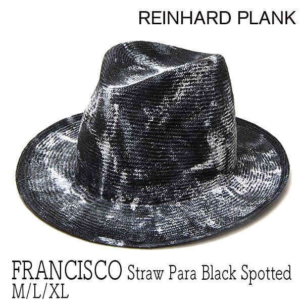 """イタリア""""REINHARD PLANK(レナード プランク)""""ストロー中折れ帽(FRANCISCO STRAW PARA BLACK SPOTTED)"""