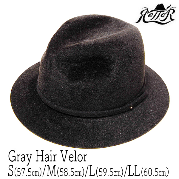 """""""Retter(レッター)""""ファーフエルト中折れ帽[Gray Hair Velor]"""