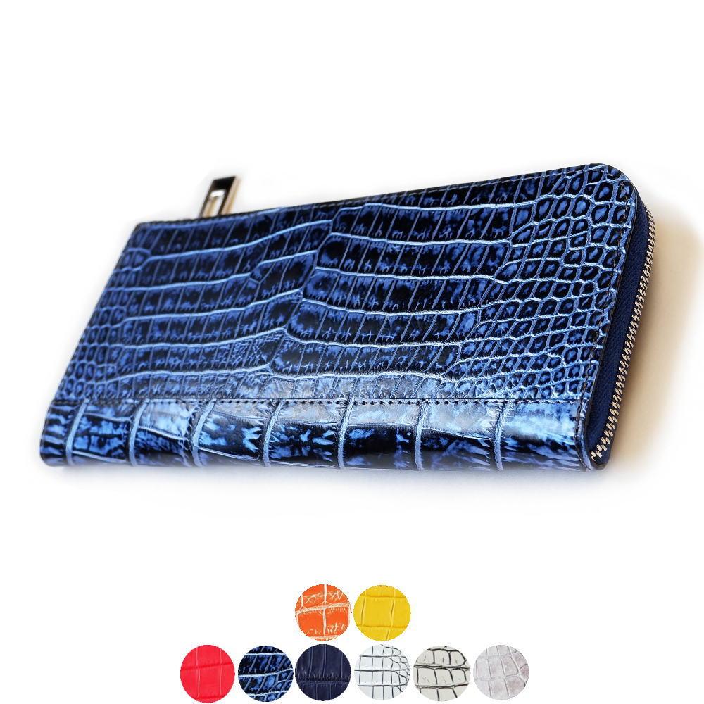 【スモールクロコダイル】 L字ファスナー長財布 外ポケットあり lgw032