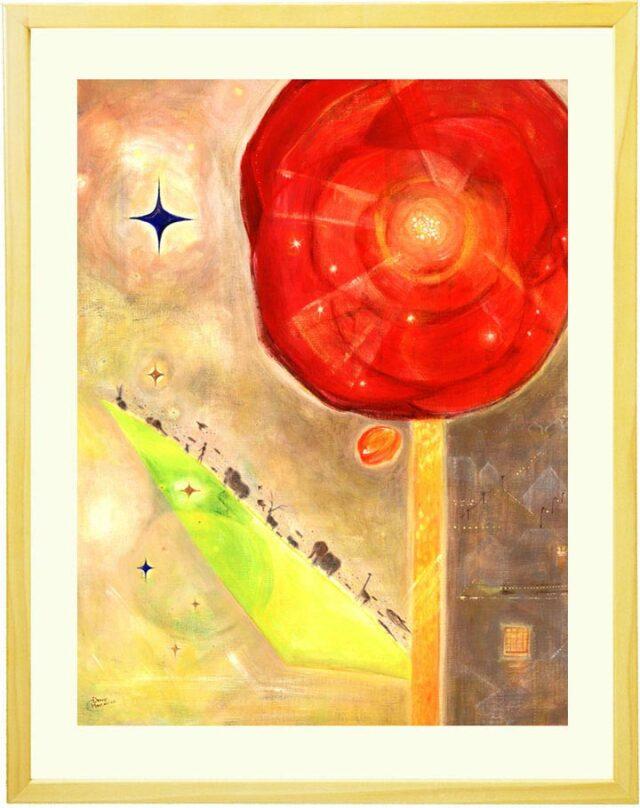 生命力や愛を感じる大きな花の絵画