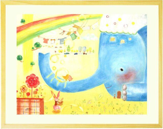 子供部屋に飾る絵画、かわいい動物の絵、癒し、壁掛け絵画、額入り、プレゼント、ゾウの絵
