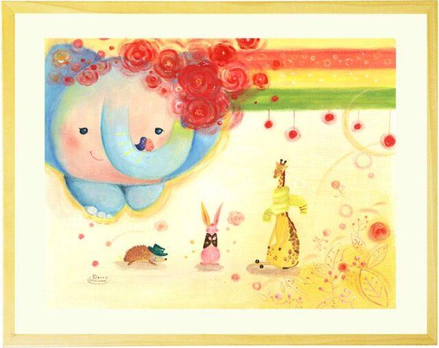 可愛い絵画、赤い花、動物の絵、かわいい、玄関・リビング、壁掛け絵画、額入り、プレゼント