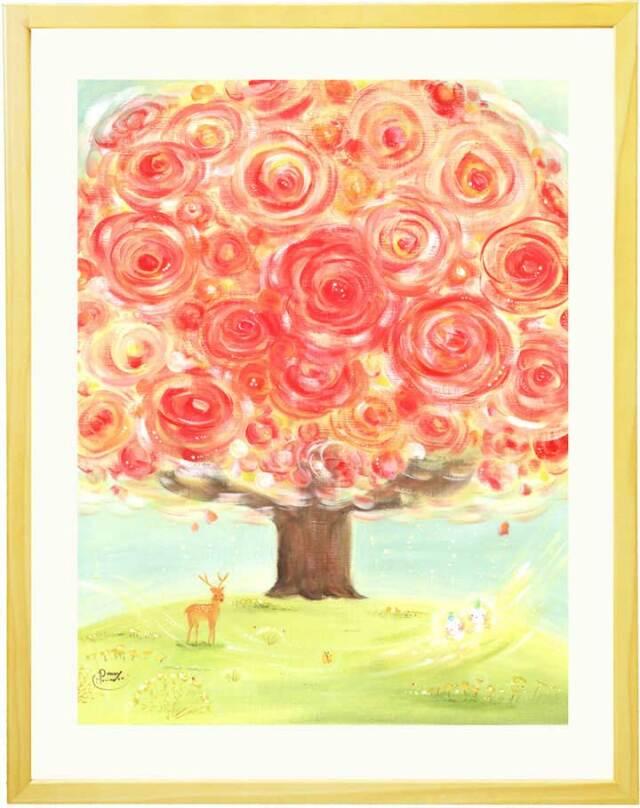 花の絵画、赤い花、還暦祝いプレゼント、母親、人気プレゼント、壁掛け絵画インテリア