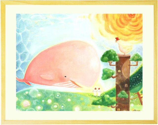 オレンジの太陽とピンクのクジラや妖精のかわいい絵画