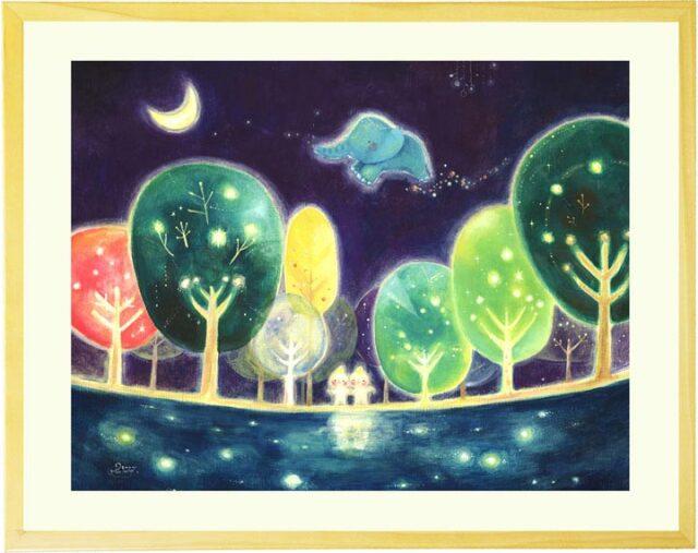 ネイビーの木と森と湖の絵・ゾウと妖精の絵画