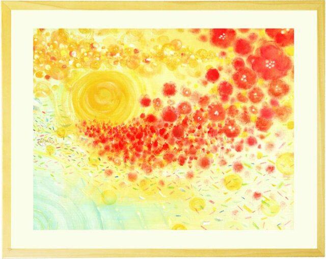 黄色と赤・オレンジの抽象画・額入り絵画