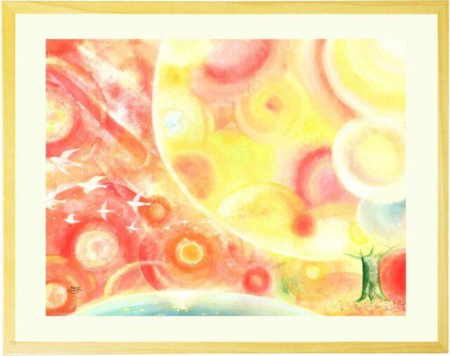 黄色と赤とオレンジの暖かくて優しい絵画