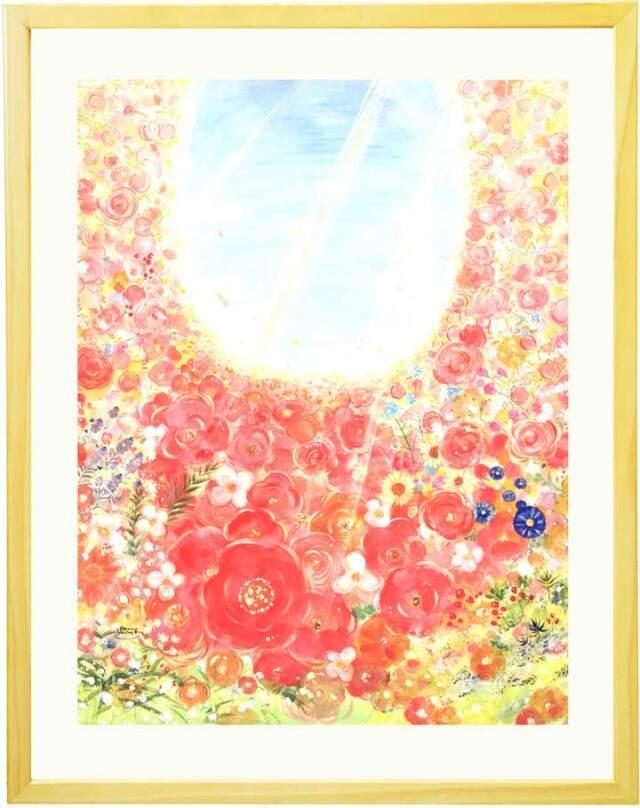 おしゃれで明るいピンクの花畑と空の絵画