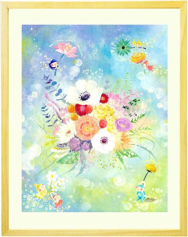 かすみ草やタンポポ・アネモネ・ユーカリなど花束の絵画・春の花