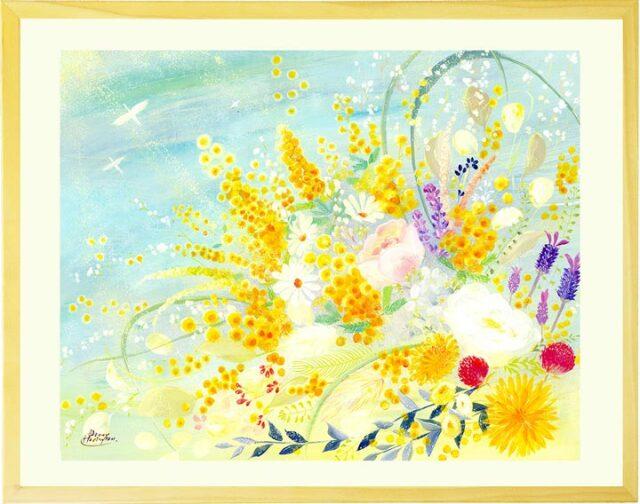 ミモザの絵画・レモングラス・カスミ草花束の絵(黄色・風水)