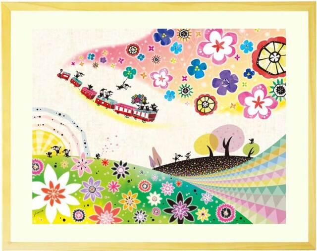 花の絵画、風景画、おしゃれな絵画、かわいい、可愛い 、玄関・リビング、壁掛け絵画、額入り、プレゼント