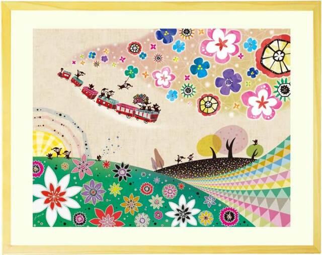 花の絵画、人気の絵画、幸せ、可愛い、かわいい、玄関・リビング、壁掛け絵画、額入り、プレゼント