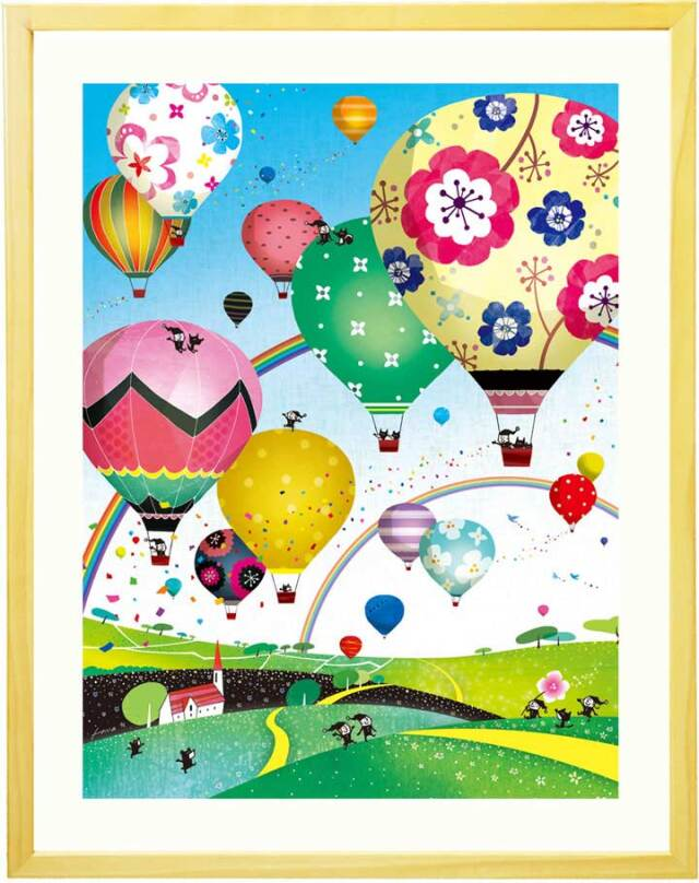 気球の絵画、笑顔、明るい絵画インテリア、元気が出る絵、人気ランキング、空の絵、青、ブルー