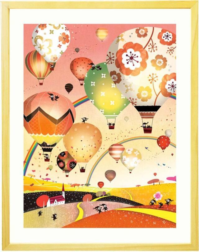 オレンジ色・黄金・こがね色の夕暮れと気球の絵画