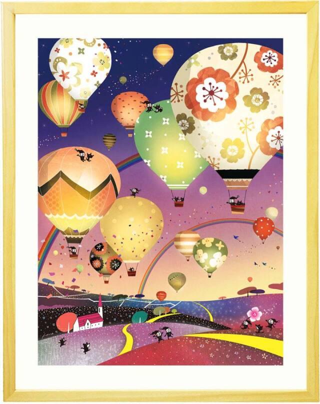 寝室やリビングに飾る夜景・夜空と気球の絵画・風景画