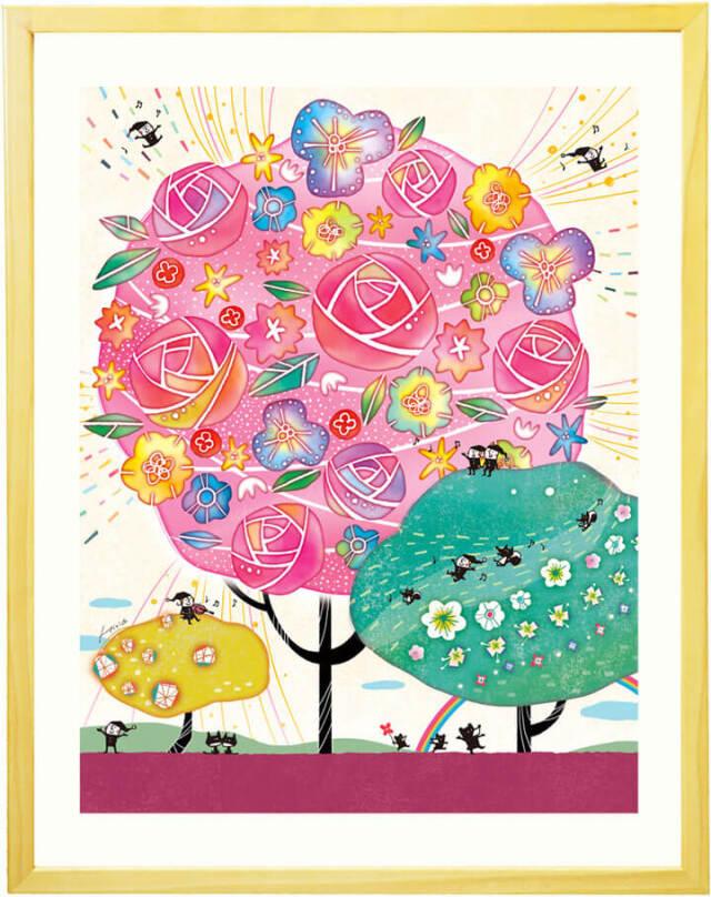 かわいい絵画・花の絵・音符・音楽・癒し・風水(ピンク)