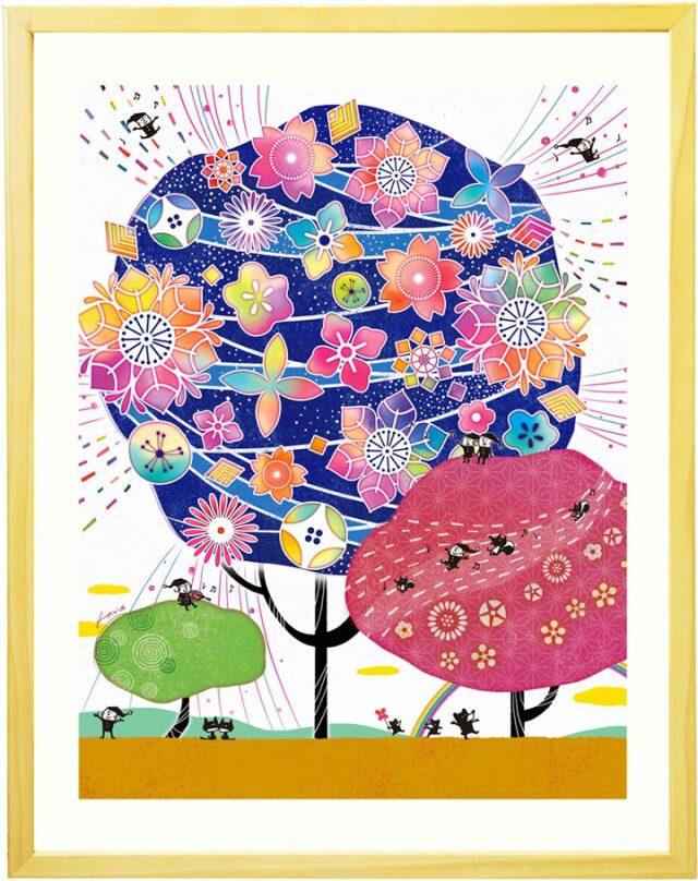 喜寿祝い・古希祝い・傘寿祝いプレゼントに花の絵画ギフト、紫色、紺色、藍色、人気